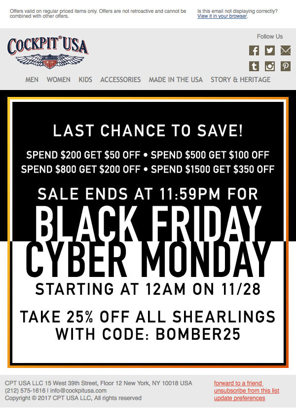 Final email blast for Cockpit USA's Black Friday sale & beginning of Cyber Monday sale designed by Kate Brady