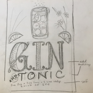Gin & tonic rough sketch 001 by Kate Brady