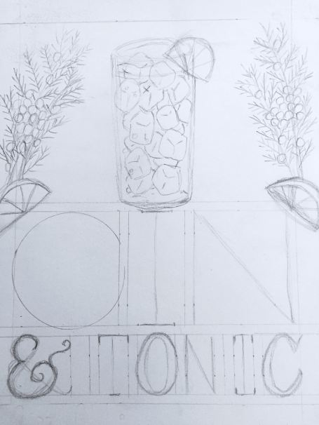 Gin & Tonic Rough Sketch by Kate Brady